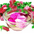 Spa bowl with rose petals — Stock Photo