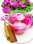 Punch cocktail tea drink with wild rose and cinnamon — Stockfoto