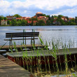 Strausberg Lakeside, bench on a landing stage — Stock Photo #10964210
