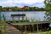 Strausberg Lakeside, bench on a landing stage — Stock Photo