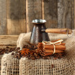Table and sack with fresh hot coffee drink — Stockfoto