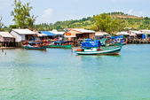 Fishing village and boats in the background of the hill, Sihanoukville, Cambodia — Stock Photo