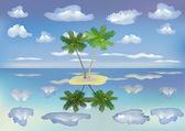 The sea , island, palm trees. — Cтоковый вектор