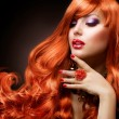 Wavy Red Hair. Fashion Girl Portrait — Stock Photo #11103618