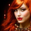 Fashion Red Haired Girl Portrait. Jewelry — Stock Photo #11103624