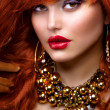 Stock Photo: Fashion Red Haired Girl Portrait. Jewelry