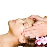 Spa Massage. Beauty Woman Getting Facial Massage. Day-Spa — Stock Photo