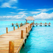 Vacation in Tropic Paradise. Jetty on Isla Mujeres, Mexico - 图库照片