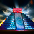 Stock Photo: Chichen ItzMayPyramid Night View