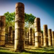 Chichen Itza, Columns in the Temple of a Thousand Warriors - Stok fotoğraf