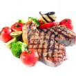 Grilled Beef Steak with Vegetables over White Background - Stock Photo