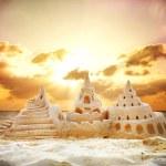 Sand Castle over Sunset on the Beach — Stock Photo