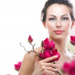 Beautiful Healthy Woman with Spring Flowers. Spa — Stock Photo #11104320