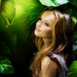Stock Photo: Beautiful Girl in Jungle