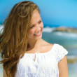 Beautiful Girl in Tropical Resort. Travel and Vacation concept — Stock Photo