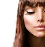 Yüz. moda makyaj. mükemmel cilt — Stok fotoğraf
