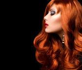 Wavy Red Hair. Fashion Girl Portrait — Stock Photo