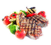 Grilled Beef Steak with Vegetables over White Background — Stock Photo