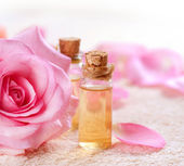 Bottles of Essential Oil for Aromatherapy. Rose Spa — Stock Photo