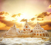 Sand Castle over Sunset on the Beach — Stock Photo