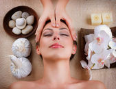 массаж лица в спа салоне — Стоковое фото