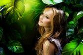 Beautiful Girl in Jungle — Stock Photo