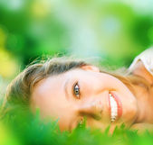 Spring Girl in Green Grass — Stock Photo