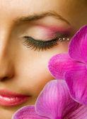 Beautiful Makeup. Face closeup — Stock Photo
