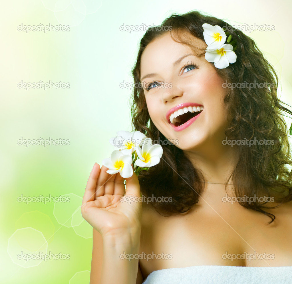 Spa Girl over nature background — Stock Photo #11103761