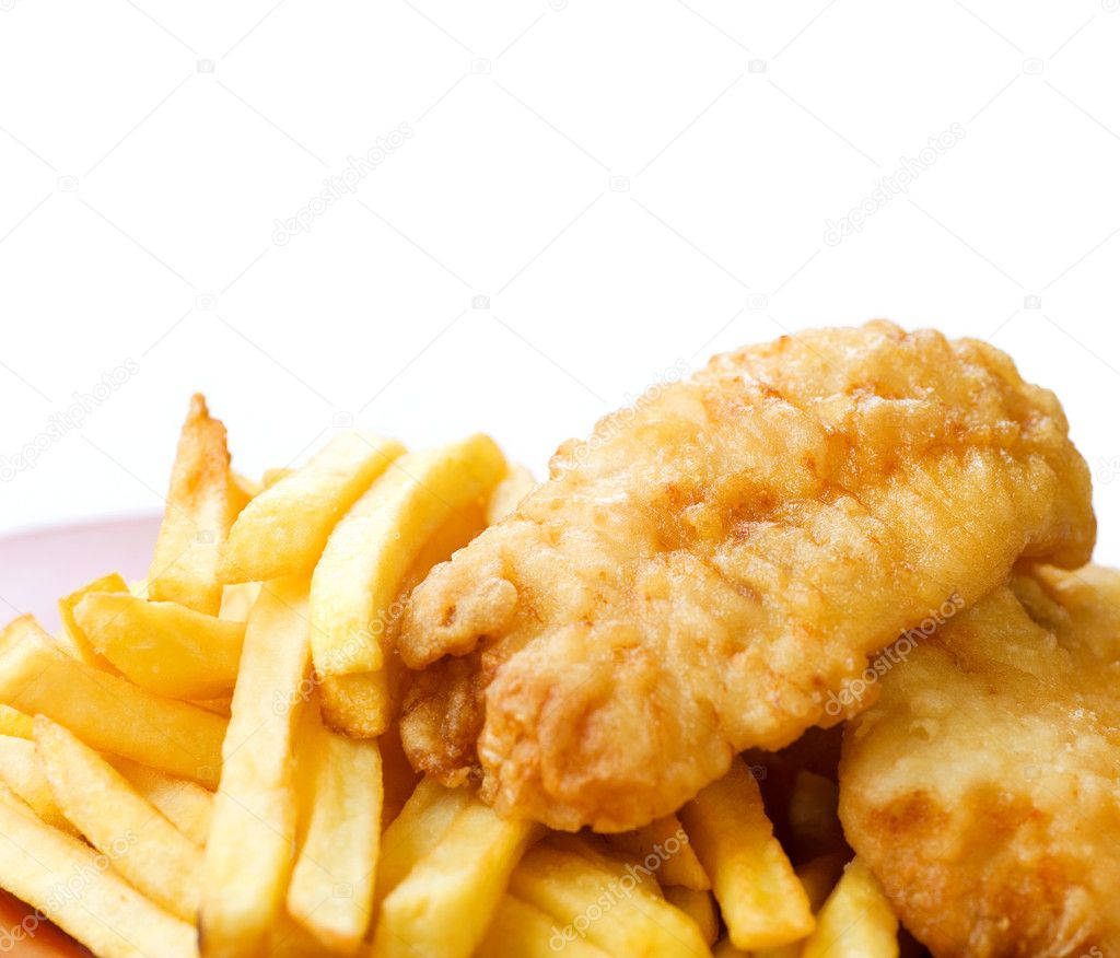 Fried Fish and Chips isolated on white — Stock Photo #11104179