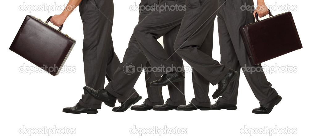 A businessman advances one step forward representing success on white — Stock Photo #11313325