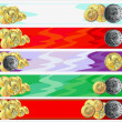 Horizontal banners with gold coins — Imagen vectorial