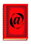 Beautiful red book with internet symbol — ストックベクタ