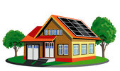 Ecology house with solar cell — Stock Vector