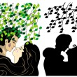 Stock Vector: Lovers kissing under tree
