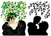Lovers kissing under tree — Stock Vector