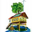 Stock Vector: House with alternative energy sources
