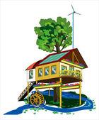 Hus med alternativa energikällor — Stockvektor