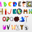 Vector de stock : Colorful vector сartoon font. Different design letters