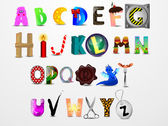 Colorful vector сartoon font. Different design letters — Vettoriale Stock
