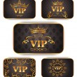 Stock Vector: Gold vip cards with floral pattern