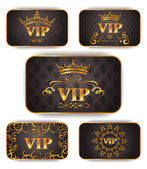 Gold vip cards with floral pattern — Stock Vector