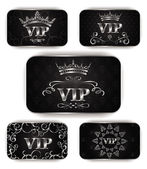Platinum vip cards with floral pattern — Vecteur
