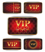 Set of gold vip cards with pattern on the red background — Stock Vector