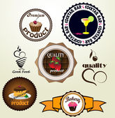 Set of vintage retro labels with food elements — Stock Vector