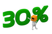 3d man with 30 percent discount — Stock fotografie