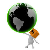 3d Big green globe in hand of man — Stock Photo