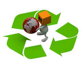 3d Man Globe with recycling sign — Stockfoto