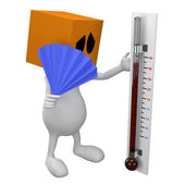 3d Man Looking in thermometer — Stock Photo