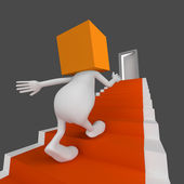 3d Man Stairs with door — Stockfoto